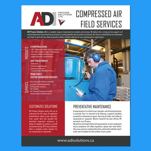 create a service rate sheet for ADI Process Solutions