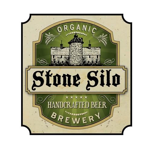 Vintage Style Organic Craft Brewery Logo