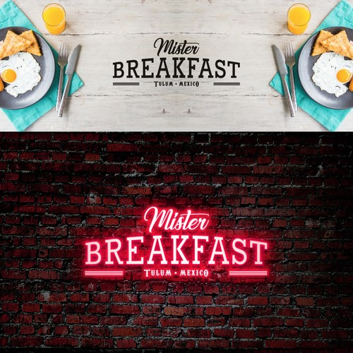 Design a logo and brand for a pop up restaurant in Tulum called Mister Breakfast