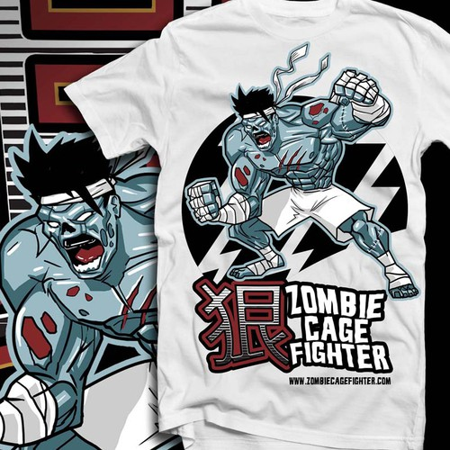 Zombie Cage Fighter T-Shirt Design
