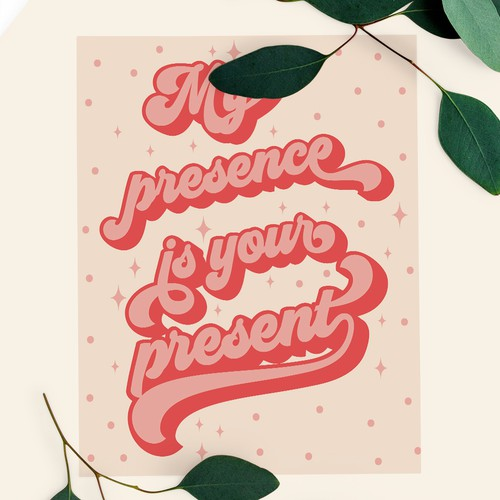 My presence is your present xmas card design