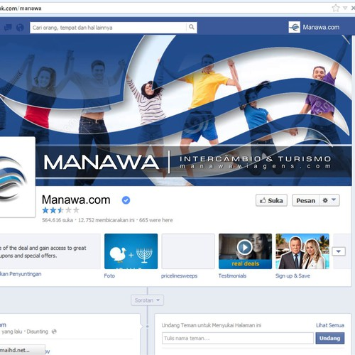 Please create a great Facebook (profile and cover) design for travel agency Manawa!