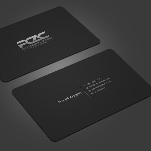 Modern Black Business Cards For PCAutoCare