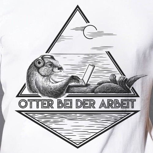 T-shirt illustration of a cool and fun otter working at a laptop