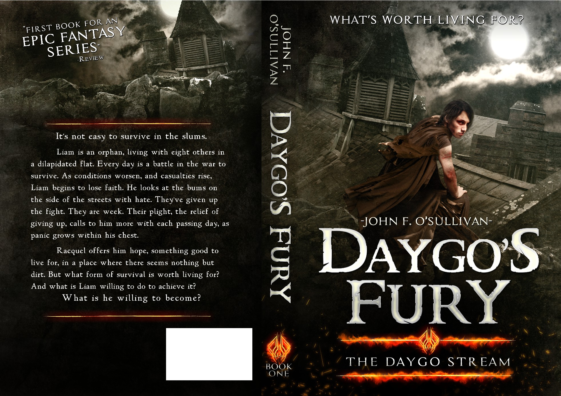 Create a cool, artistic Epic Fantasy Cover for E-Book and Print