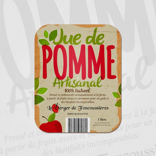 100% Natural Apple Juice Label Design