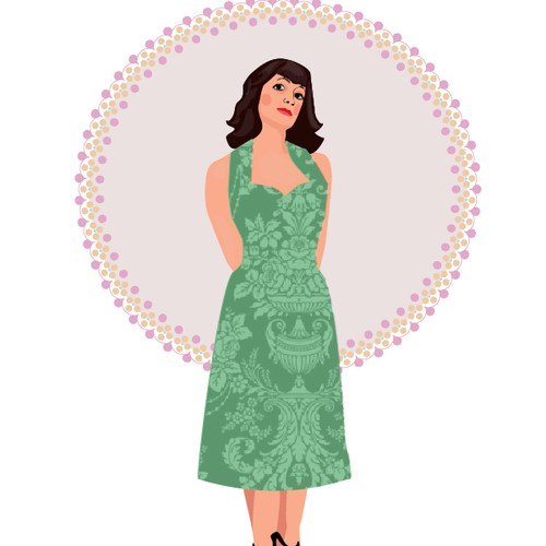 A female caracter for a healthy blogg - like a sexy but conservative lady from the 50's