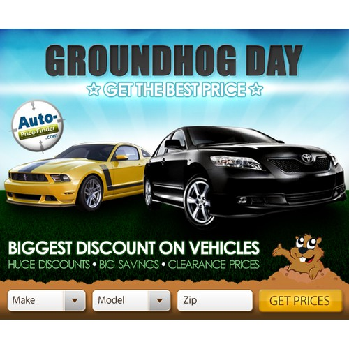 New banner ad wanted for a Cool Automotive Company - Groundhog Day Banner