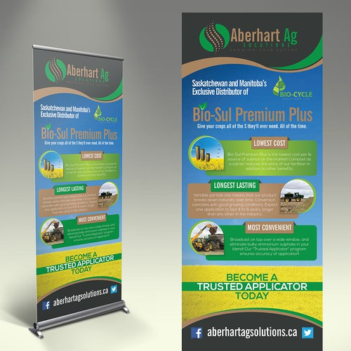 Create a winning eye catching pop up banner for Aberhart Ag Solutions!
