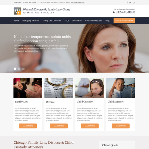 Landing Page Design for The Firm Focuses on The Legal Needs of Women