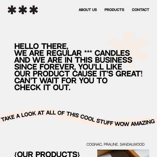 Website design concept for candle shop