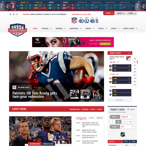 Sports site homepage proposal