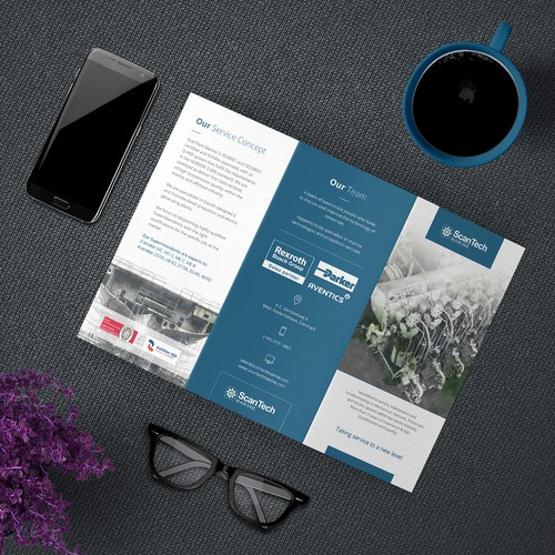 Clean Trifold Brochure Concept for ScanTech Marine