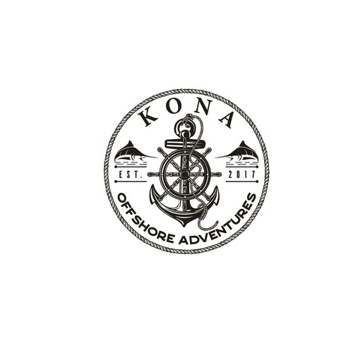 Kona offshore adventures logo design.