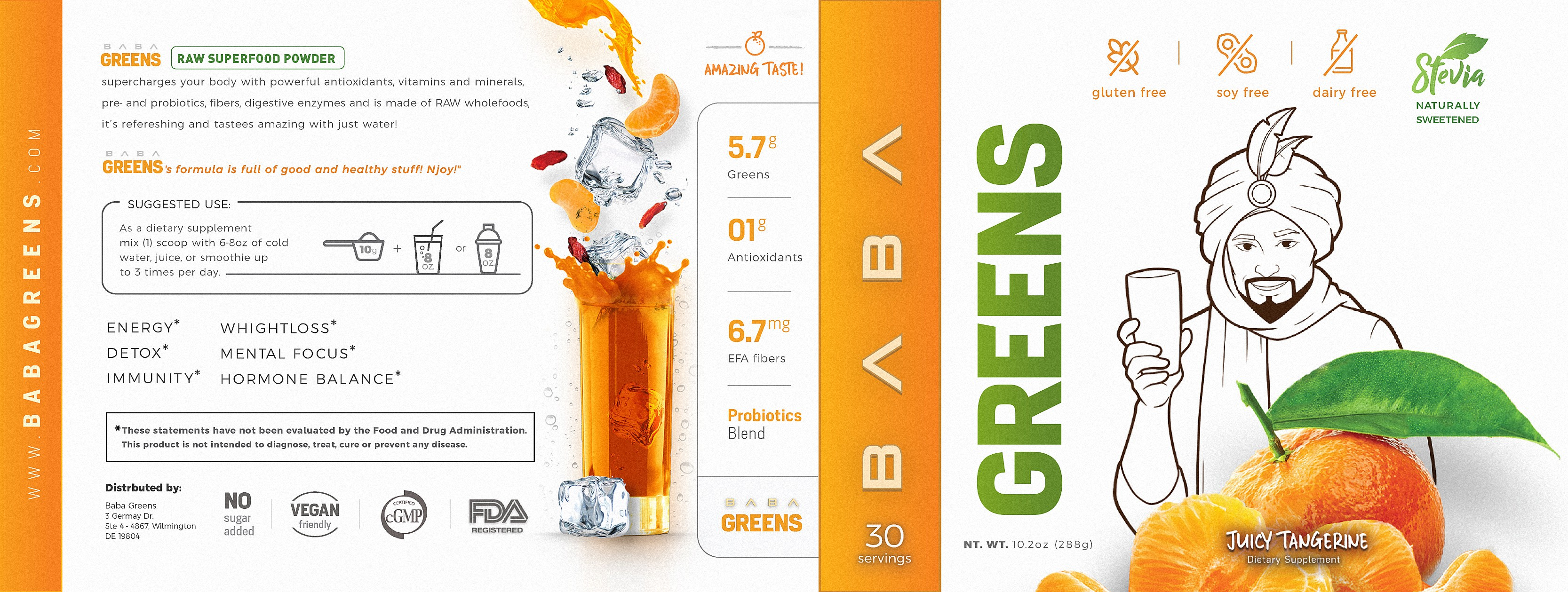 Product label design for a greens (superfood) supplement with 2 flavors