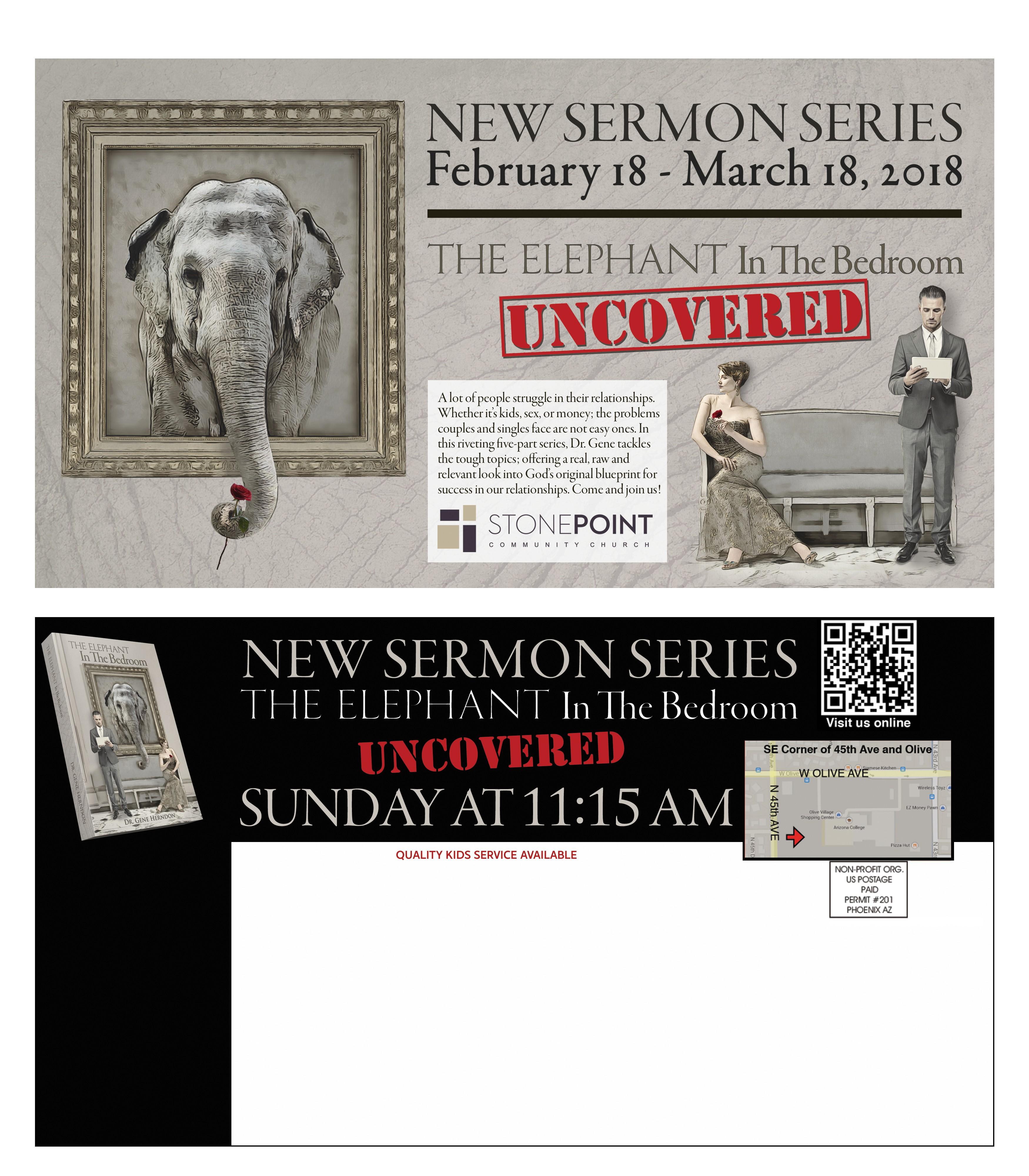 Elephant in the bedroom postcard mailer