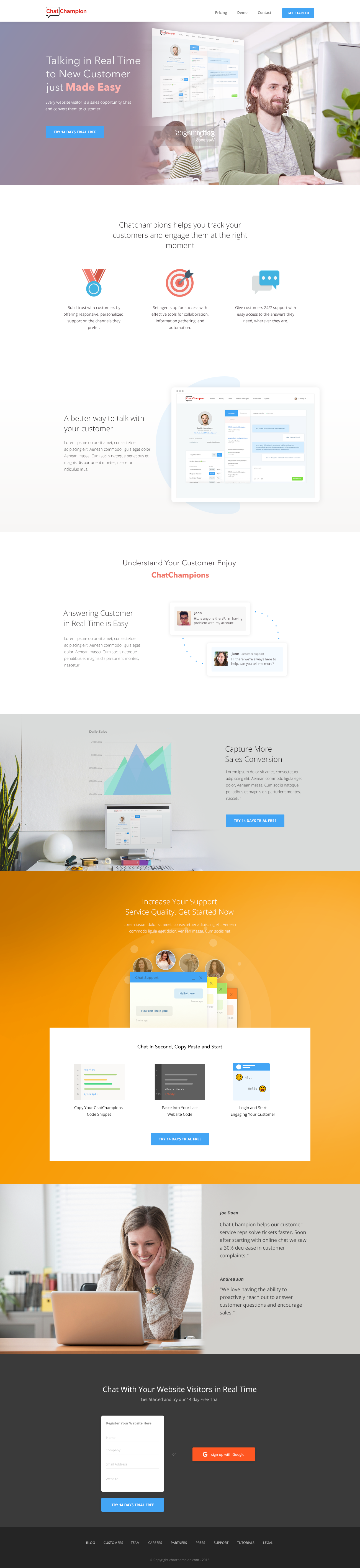 A simple landing page. Done in a day!