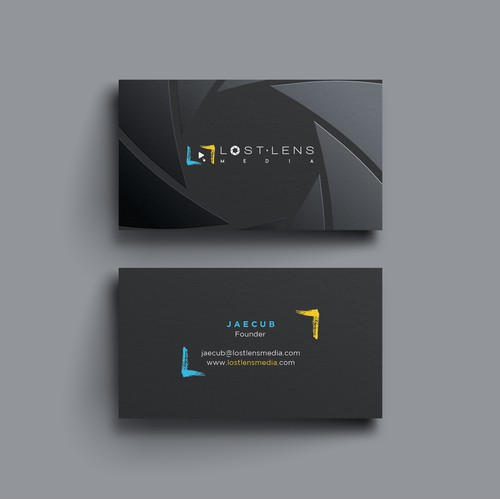 Elegant business card for lost lens media.
