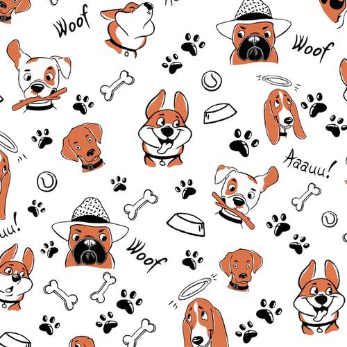 "Pattern design ""Funky dogs"""