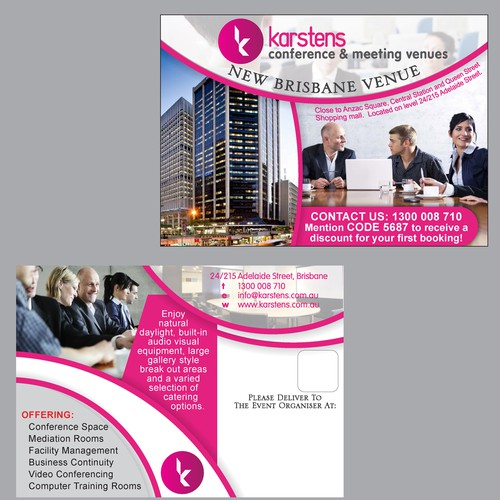 Postcard advertising a new meeting venue.
