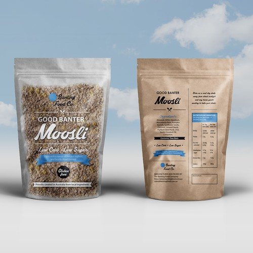 Front and Back food label for a muesli company