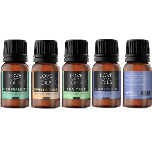 Essential Oils brand modern label