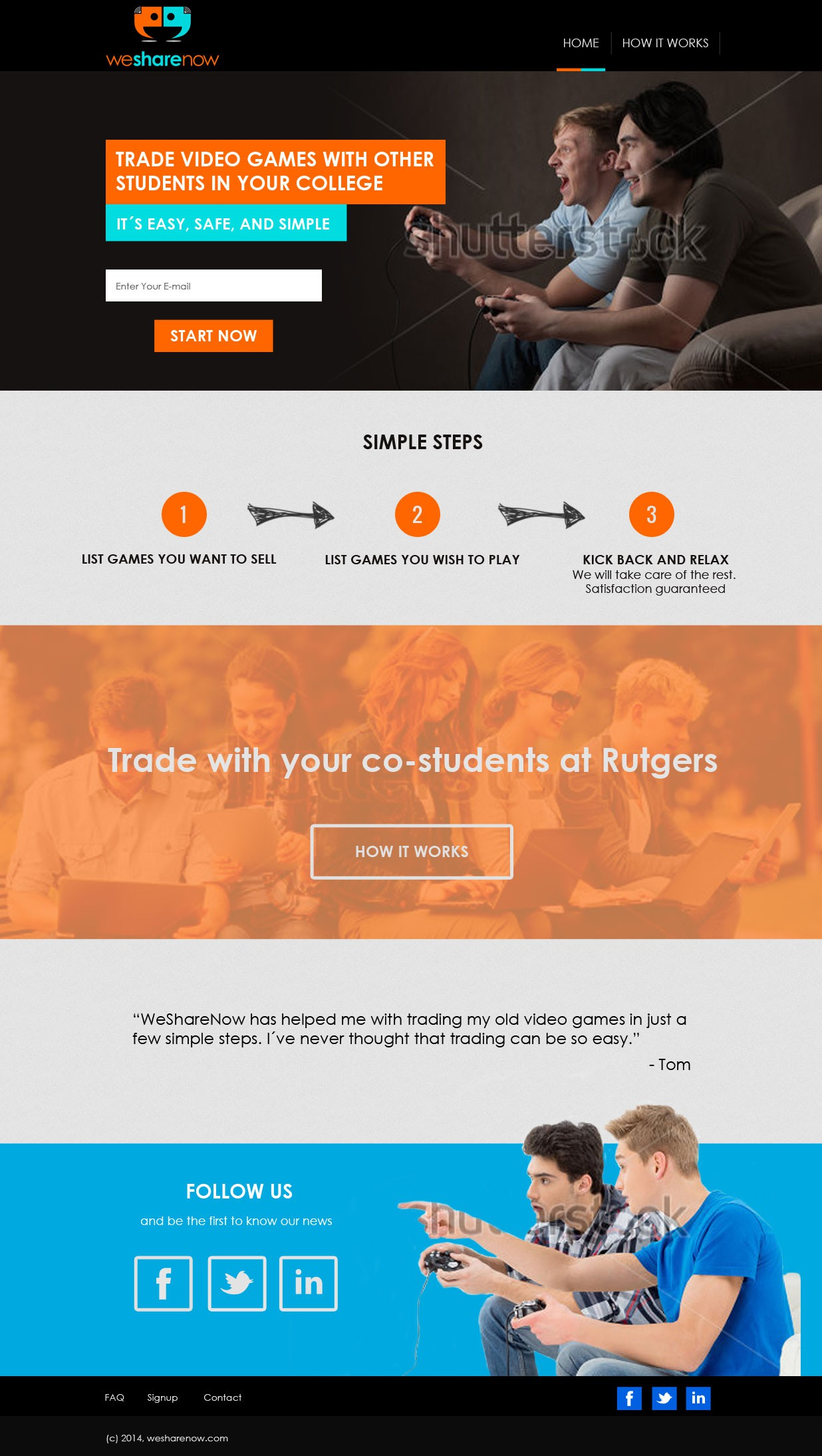 Create a stunning landing page for college students to trade their video games within their college