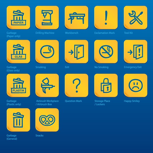 """Icon set for """"WORKandSTORE"""""""