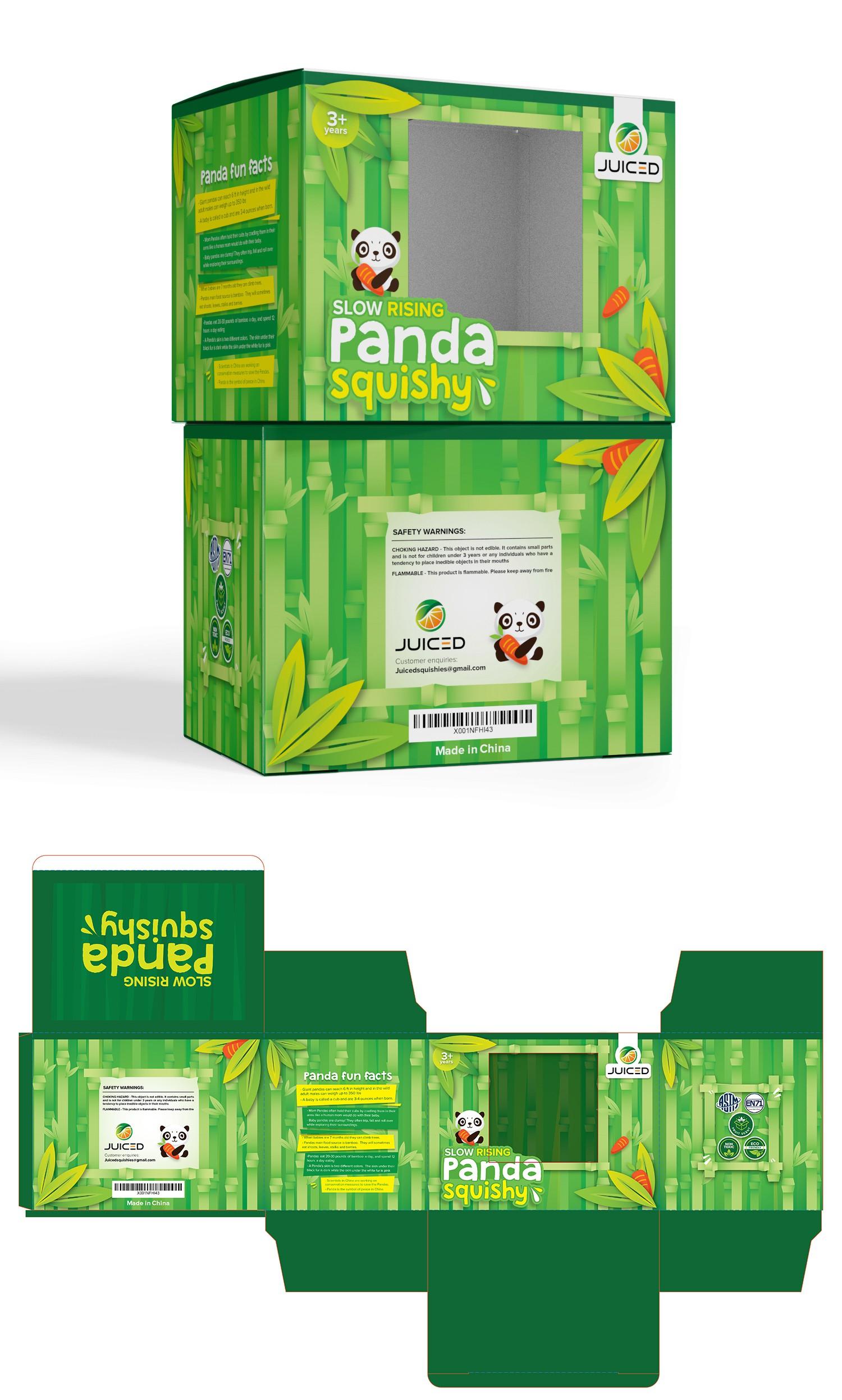 Slow rising Panda squishy toy packaging with bamboo jungle habitat theme