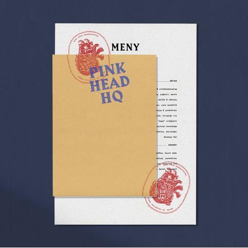 Pink Head HQ - Restaurant branding and menu