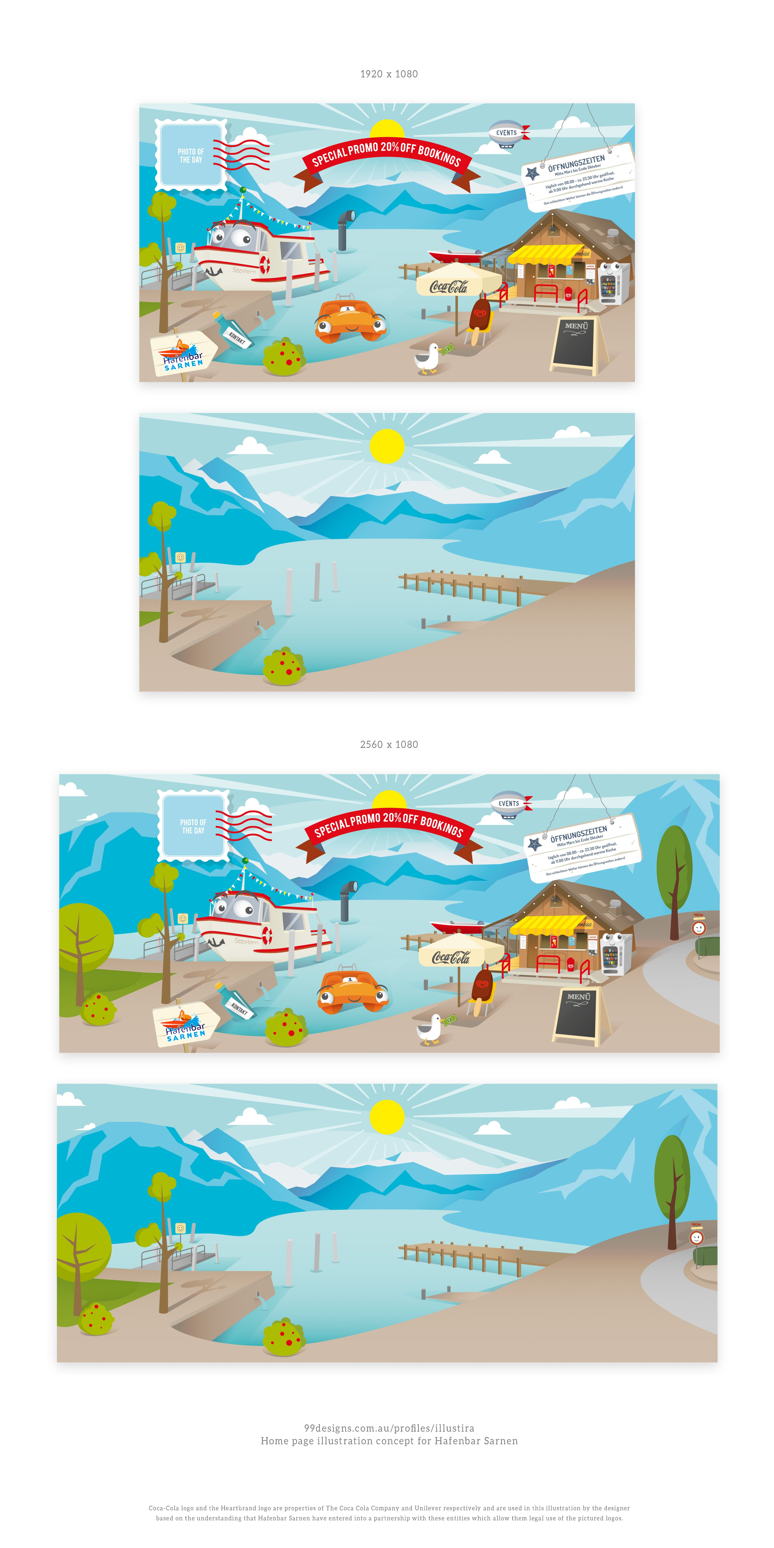 Snack bar with pedalo rental needs a cool & fun illustration in cartooon style for our new website design