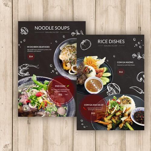 Menu for Vietnamese restaurant