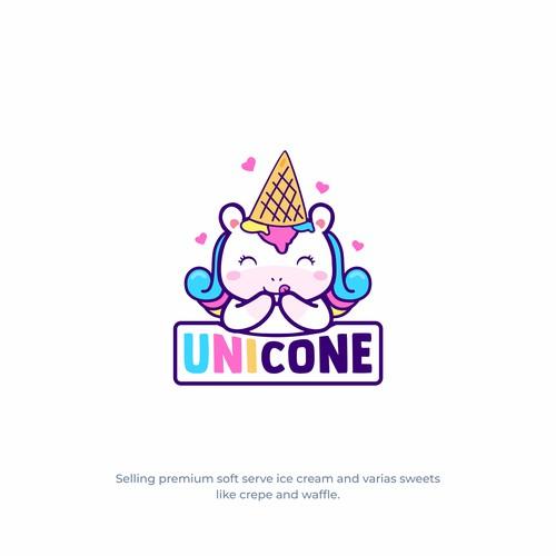 cute unicorn for ice cream brand