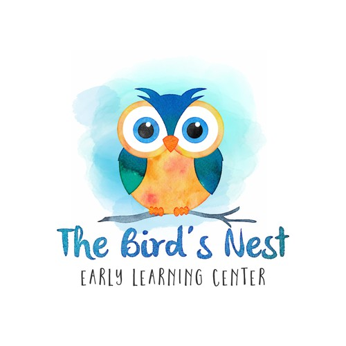 Watercolor owl logo for a childcare business