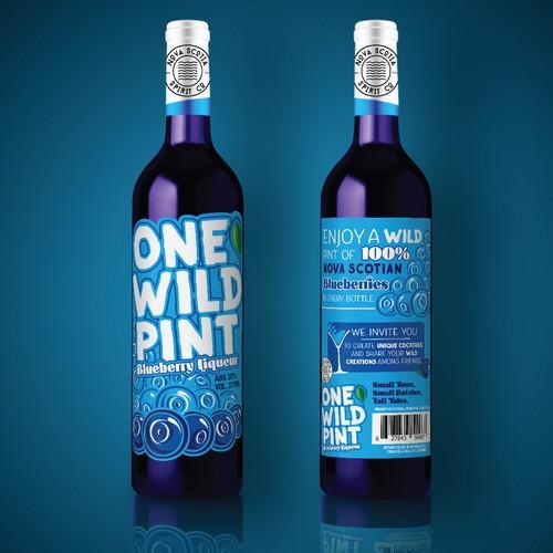 Loud label design for Blueberry Liqueur