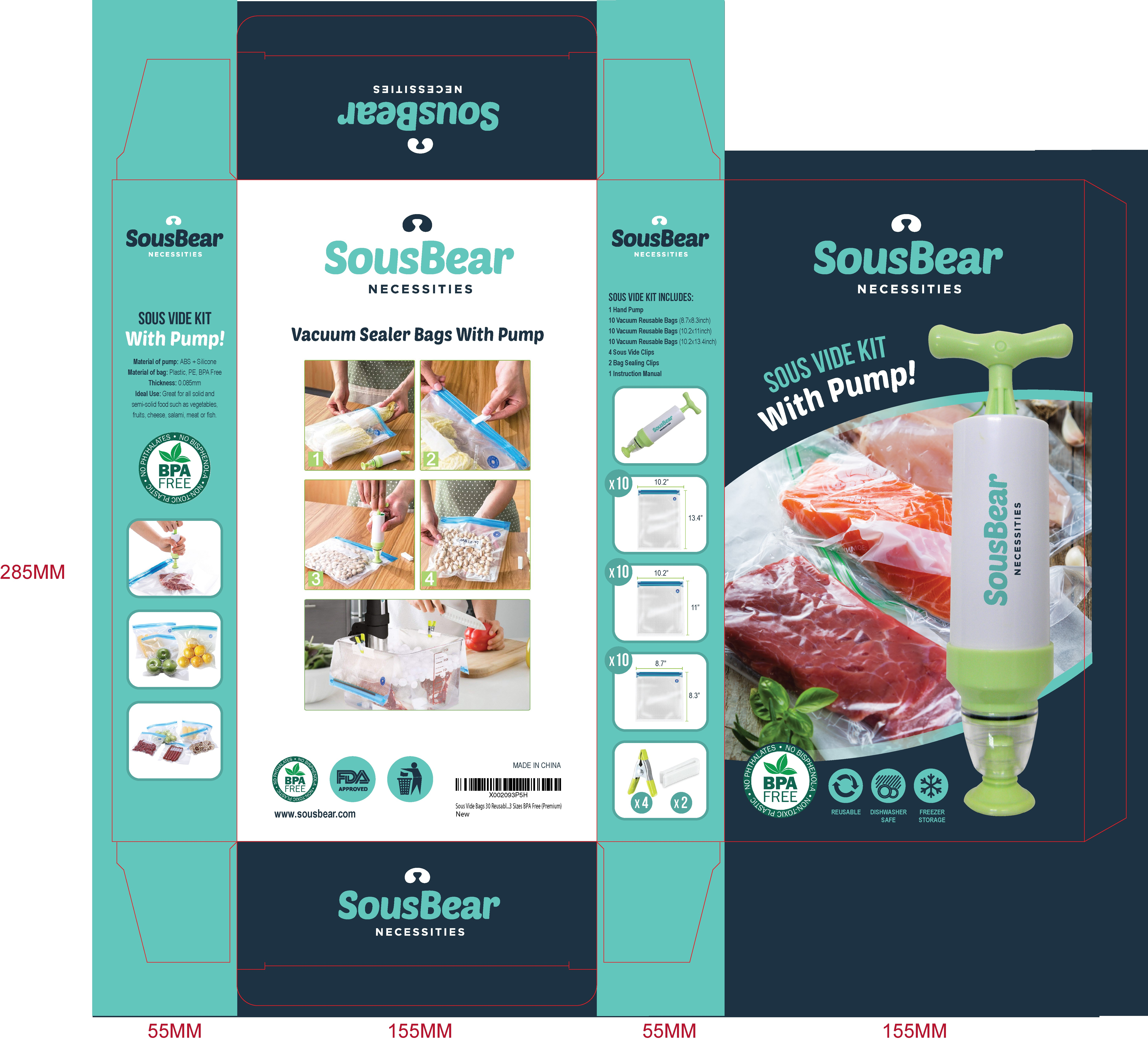 Packaging for a Sous vide Kit, cooking supplies.