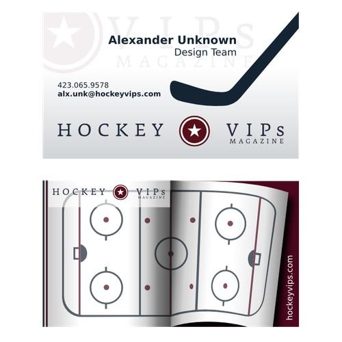 Create a business card for Hockey VIPs Magazine