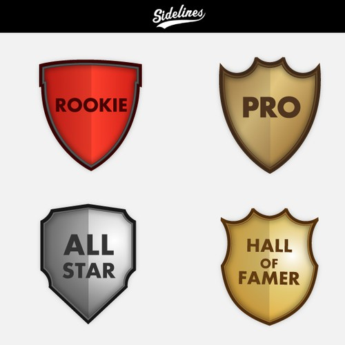 Design a set of badges for Sidelines, a site for sports discussions