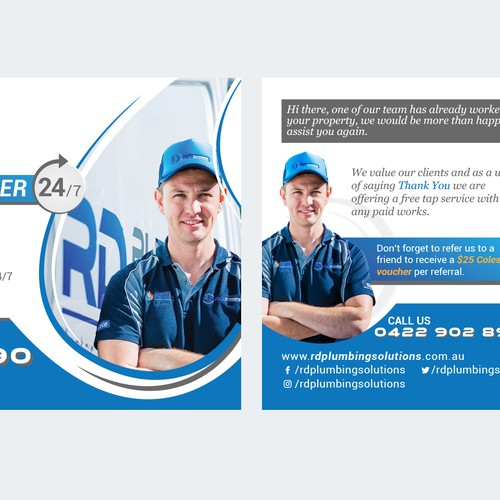 fresh and clean postcard for plumber