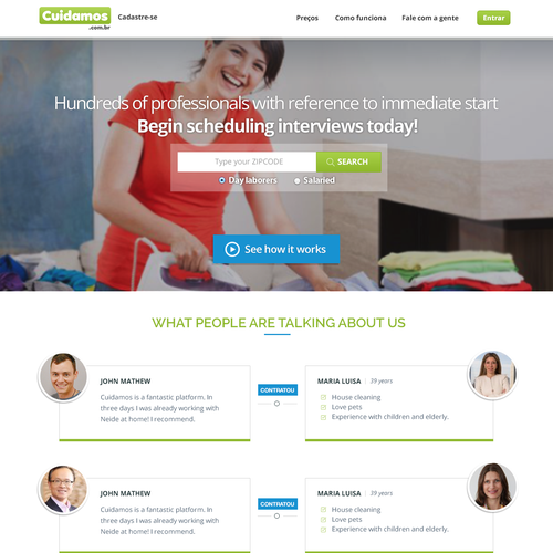 Landing page design for Cuidamos a marketplace geared to domestic professionals