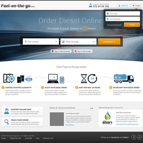 A creative and stylish design for fuel-on-the-go.com website
