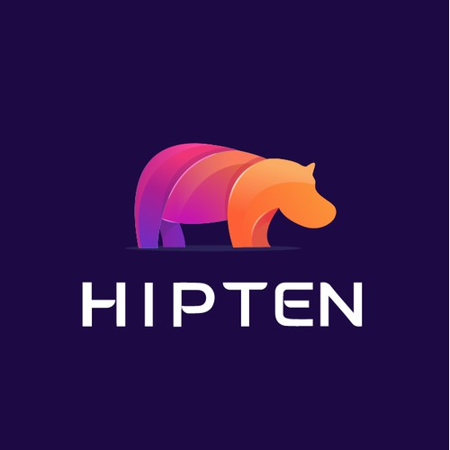 Fun Bold Hippo Logo for Hipten