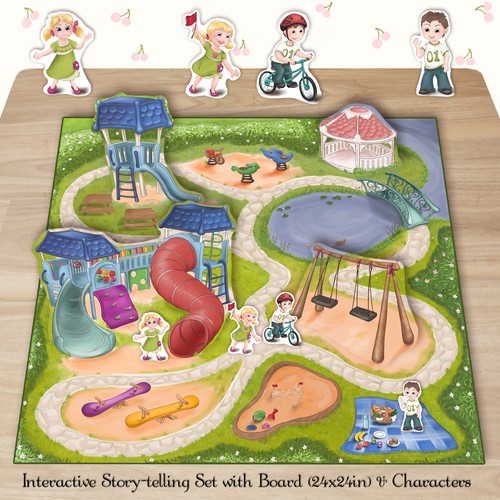 Create an interactive story telling set with board and characters