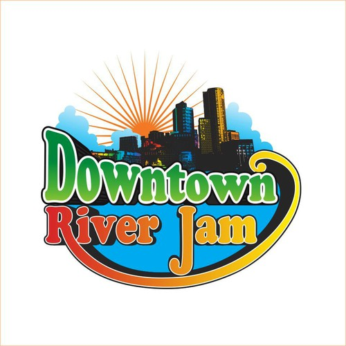 Create a fun and colorful modern illustration for Downtown River Jam