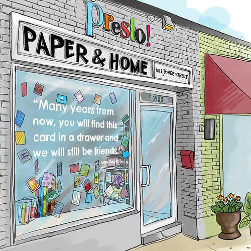 Illustration of our little shop that sells cards and gifts.