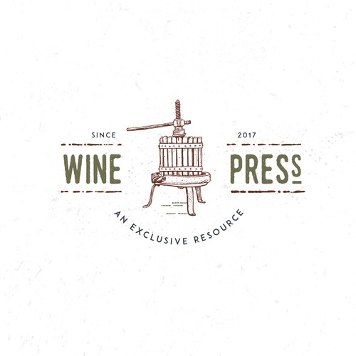 Logo for a exclusive wine club - the wine press.
