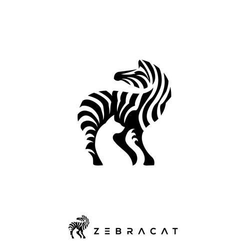 negative space logo for ZEBRACAT