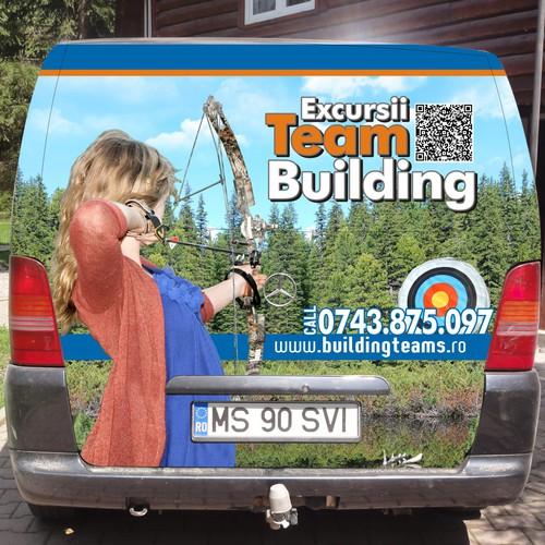 Side and back car wrap for a Team Building van