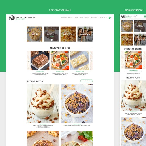 Creative web design for Popular Healthy Recipe and Travel blog