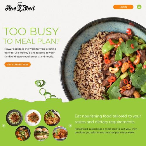 Landing page for meal planning platform
